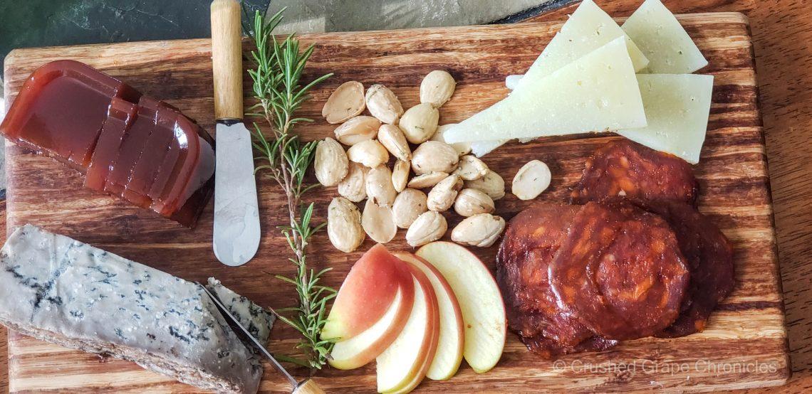 Valdeon, membrillo, marcona almonds, chorizo, manchego adn slice apple to pair with a Sidra from Asturias