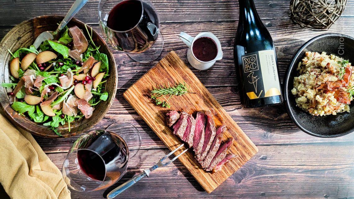 Buffalo strip loin, roasted bacon mashed potatoes and xobc 2018 Catherine Syrah