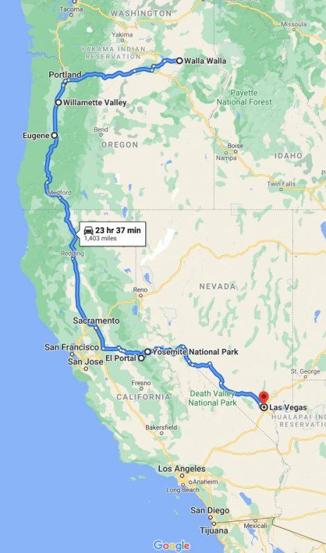 The Return Trip Walla Walla, Willamette, Eugene, Yosemite and home (via Google Maps)