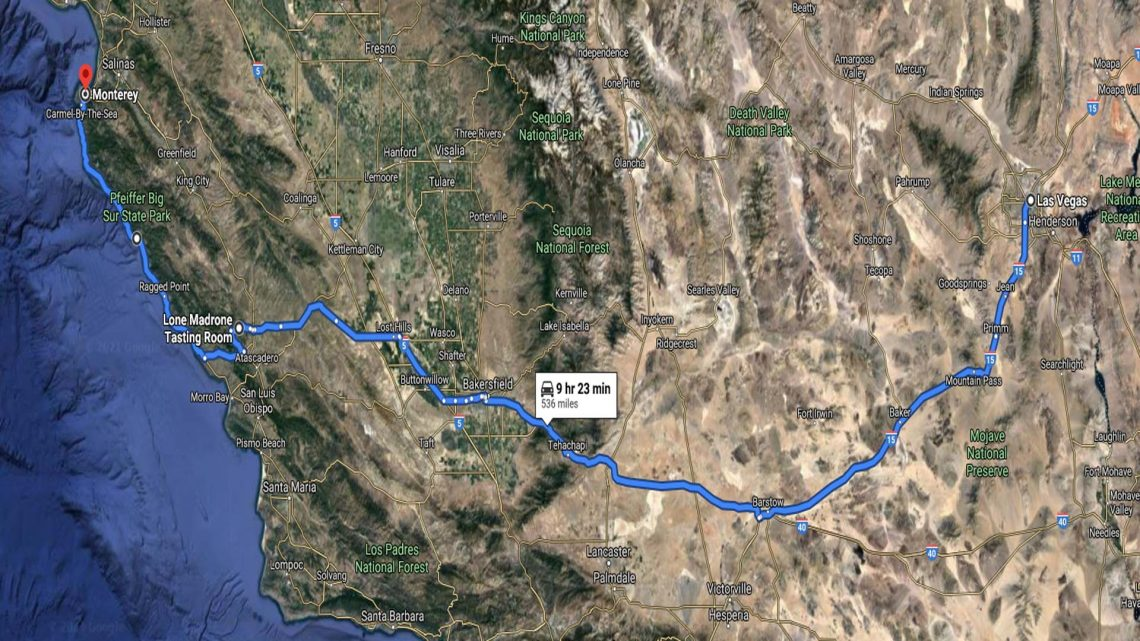 Day 1 The Scenic Route Vegas to Monterey