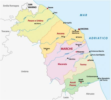 Administrative map of Le Marche Italy (image Adobe Stock by lesniewski)
