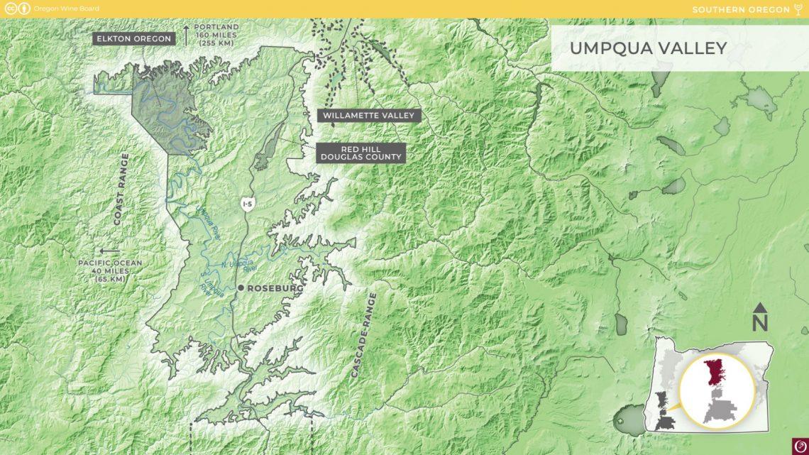 Umpqua Valley Map (courtesy Oregon Wine Board)