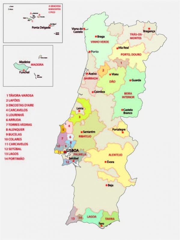 Portugal Wine Regions Map (Adobe Stock by lesniewski)