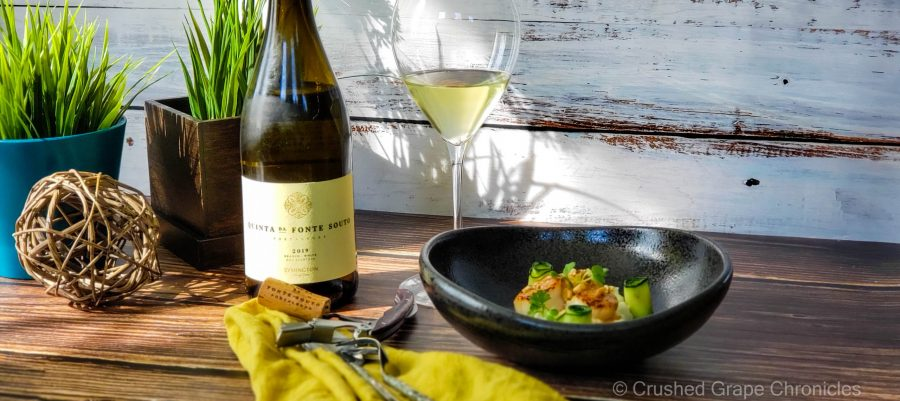 Quinto da Fonte Souto Branco 2019 from Alentejo Portugal with seared scallops in citrus butter with hazelnuts on a cauliflower puree