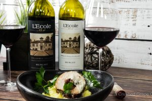 #MerlotMe with L'Ecole No. 41 and Fig and shallot stuffed pork loin on garlic sage mashed potatoes
